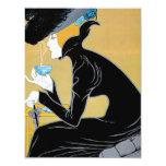 """Arte Nouveau, té del vintage de señora Drinking Invitación 4.25"""" X 5.5"""""""