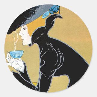Arte Nouveau, té del vintage de señora Drinking Pegatina Redonda