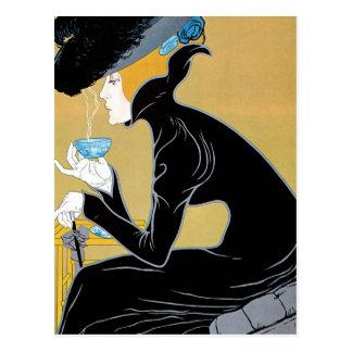 Arte Nouveau, té del vintage de señora Drinking Tarjeta Postal