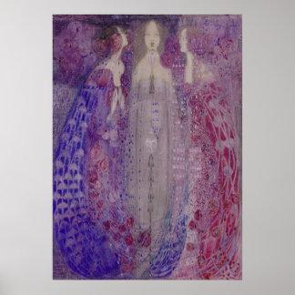 Arte Nouveau tres perfumes MacDonald 1912 Póster