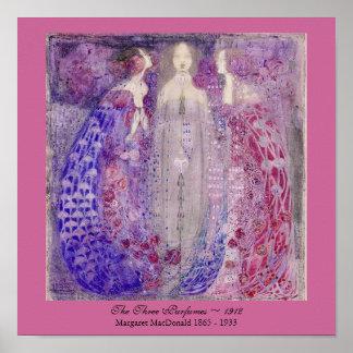 Arte Nouveau tres perfumes Margaret MacDonald 1912 Póster