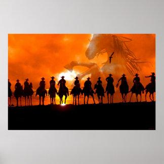 Arte occidental del poster del caballo del rodeo d