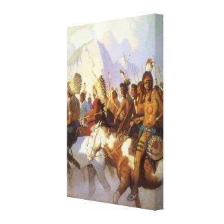 Arte occidental del vintage, fiesta indio de la impresion de lienzo