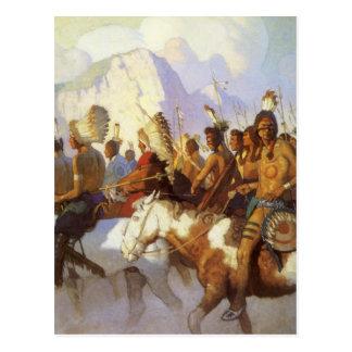 Arte occidental del vintage, fiesta indio de la postales