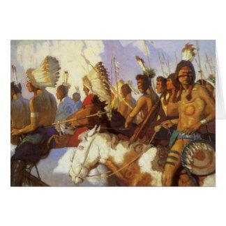 Arte occidental del vintage, fiesta indio de la tarjeta de felicitación