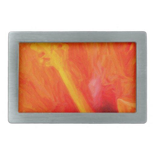 arte - orange_hibiscus hebillas cinturón rectangulares