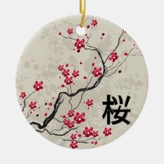 Arte oriental de la flor de cerezo de Sakura del Adorno Navideño Redondo De Cerámica