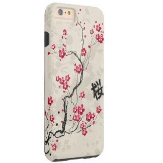Arte oriental de la flor de cerezo de Sakura del Funda Resistente iPhone 6 Plus