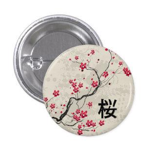 Arte oriental de la flor de cerezo de Sakura del Pin Redondo De 1 Pulgada