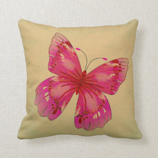 Arte oriental de la mariposa del vintage rosado cojín