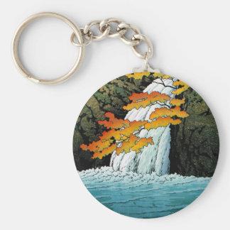 Arte oriental fresco de la cascada de Kawase Senju Llavero Redondo Tipo Pin