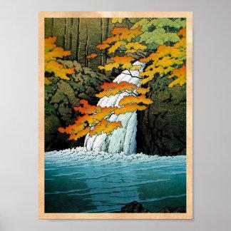 Arte oriental fresco de la cascada de Kawase Senju Posters