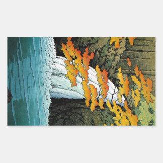 Arte oriental fresco de la cascada de Kawase Senju Pegatina Rectangular