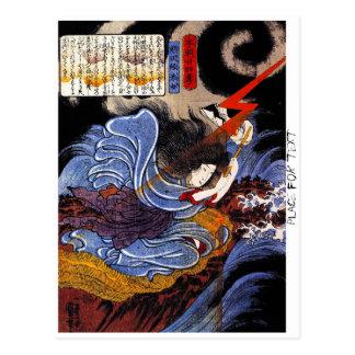 Arte oriental fresco de la diosa de Kuniyoshi del Postal