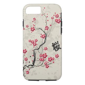 Arte oriental fresco de la flor de cerezo de funda iPhone 7