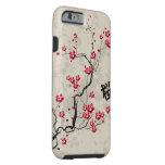 Arte oriental fresco de la flor de cerezo de funda resistente iPhone 6