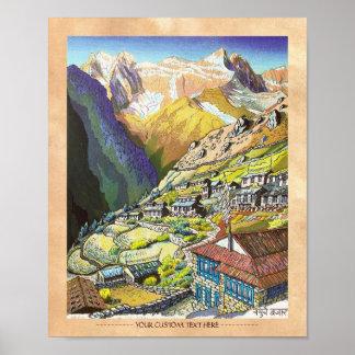 Arte oriental fresco de la montaña de Nepal del Póster