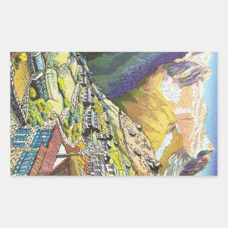 Arte oriental fresco de la montaña de Tíbet del Pegatina Rectangular