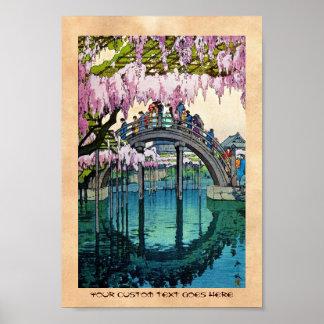 Arte oriental fresco de Yoshida del puente de
