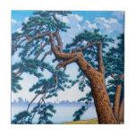Arte oriental fresco del árbol de Hasui Kawase del Azulejos Cerámicos