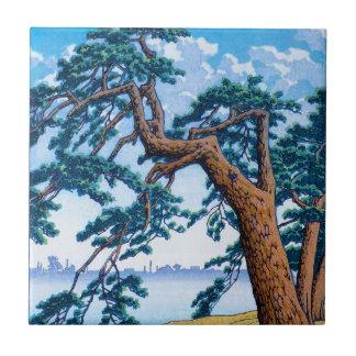 Arte oriental fresco del árbol de Hasui Kawase del Azulejo Cuadrado Pequeño