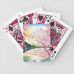 Arte oriental fresco del cerezo de la primavera de barajas de cartas