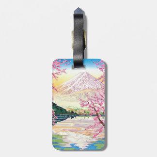 Arte oriental fresco del cerezo de la primavera de etiquetas para maletas