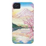 Arte oriental fresco del cerezo de la primavera de iPhone 4 carcasas