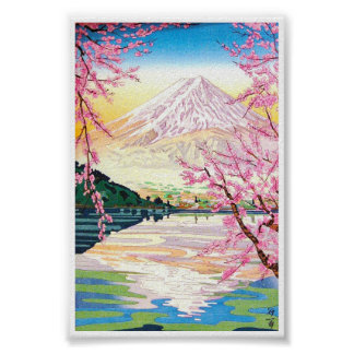 Arte oriental fresco del cerezo de la primavera de póster