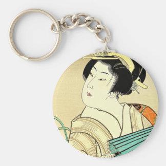 Arte oriental fresco del geisha de Kasane del japo Llaveros Personalizados