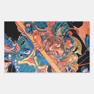 Arte oriental fresco del guerrero de Kunioshi Pegatina Rectangular