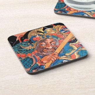 Arte oriental fresco del guerrero de Kunioshi Suik Posavasos De Bebida