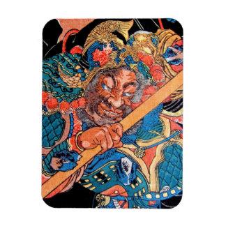 Arte oriental fresco del guerrero de Kunioshi Suik Rectangle Magnet