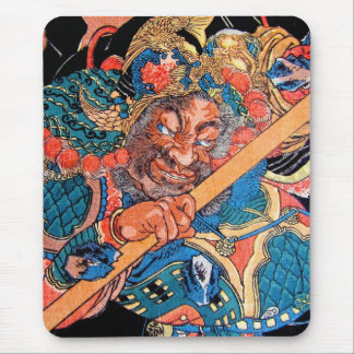 Arte oriental fresco del guerrero de Kunioshi Suik Tapete De Ratón
