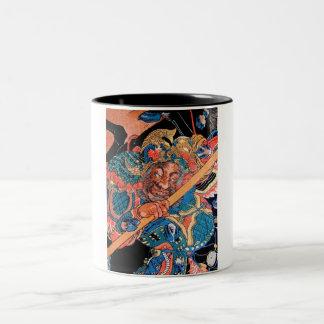 Arte oriental fresco del guerrero de Kunioshi Taza De Dos Tonos
