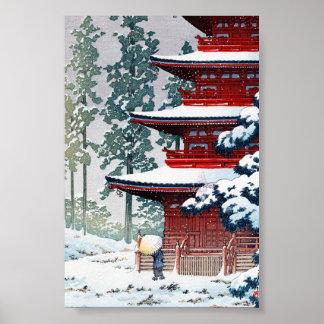 Arte oriental fresco del paisaje del invierno de H Posters