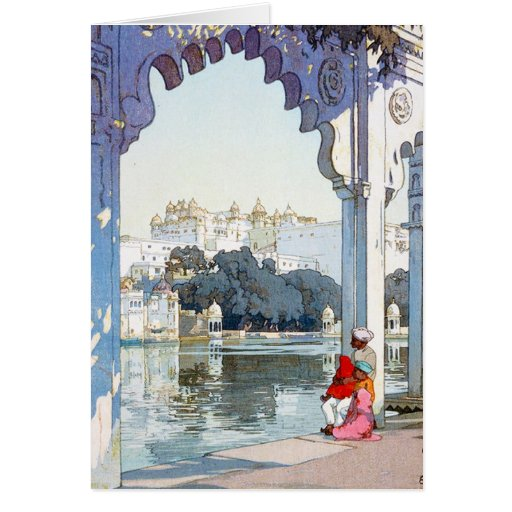 Arte oriental fresco del palacio del udaipur de tarjeta pequeña
