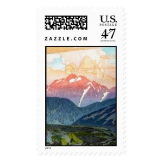 Arte oriental fresco del paso de montaña de timbre postal