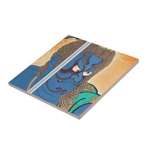 Arte oriental fresco del samurai del guerrero del  azulejos ceramicos