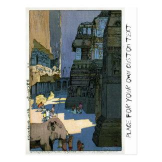 Arte oriental fresco del watercolour del paisaje tarjeta postal
