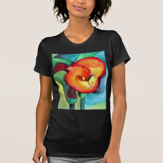 Arte original anaranjado de la acuarela del lirio tee shirts