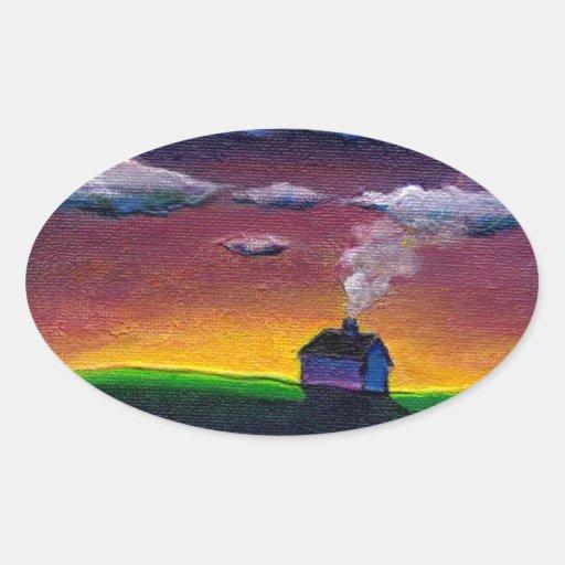 Arte original colorido del Año Nuevo del paisaje Pegatina Ovalada