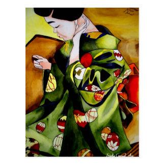 Arte original de la acuarela del geisha japonés postales