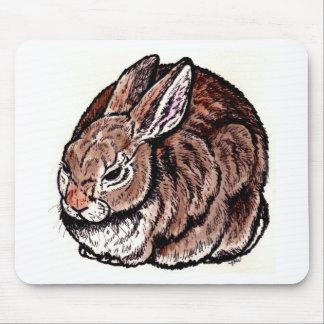 Arte original del conejo, pluma y tinta, dibujo de alfombrillas de raton
