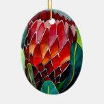 Arte original del watercolour de la flor roja del adorno navideño ovalado de cerámica