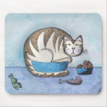Arte original Mousepad del gato gordo divertido Alfombrillas De Raton