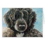 Arte original portugués Notecard del perro de agua Tarjeta