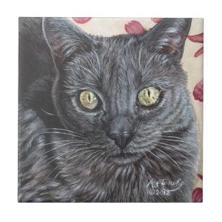 Arte original ruso de la pintura del gato azul de  azulejo cuadrado pequeño