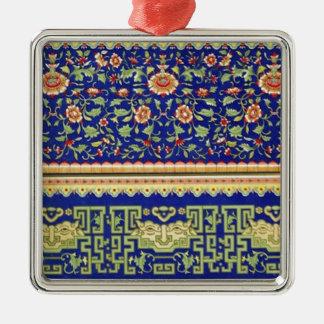 Arte ornamental chino del vintage adorno cuadrado plateado