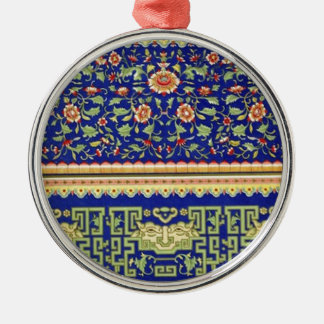Arte ornamental chino del vintage adorno redondo plateado